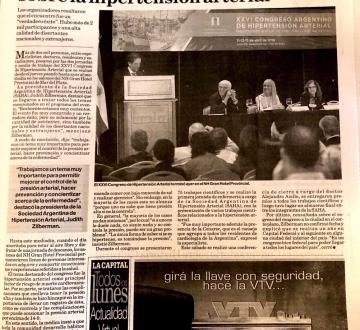 Nota Publicada por el diario La Capital de Mar del Plata el 14 de abril del 2019, en el marco del XXVI Congreso Argentino de Hipertensión Arterial